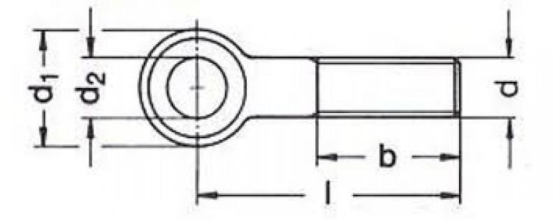 Śruba oczkowa DIN444 schemat