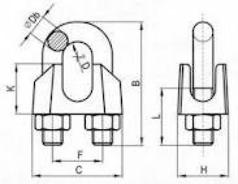 Zaciski do lin kabłąkowych DIN741 schemat